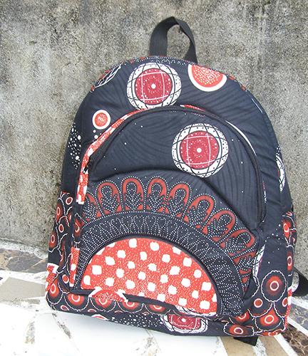 African Print Park Bag Pink & Black